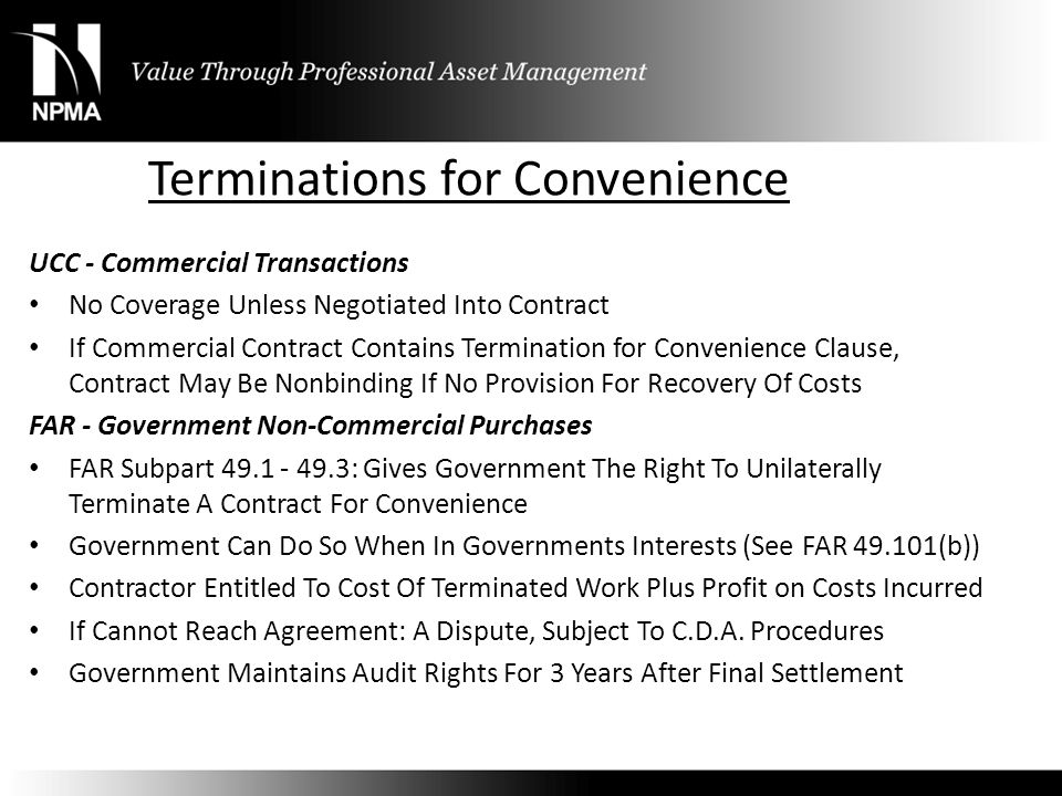 Terminations for Convenience