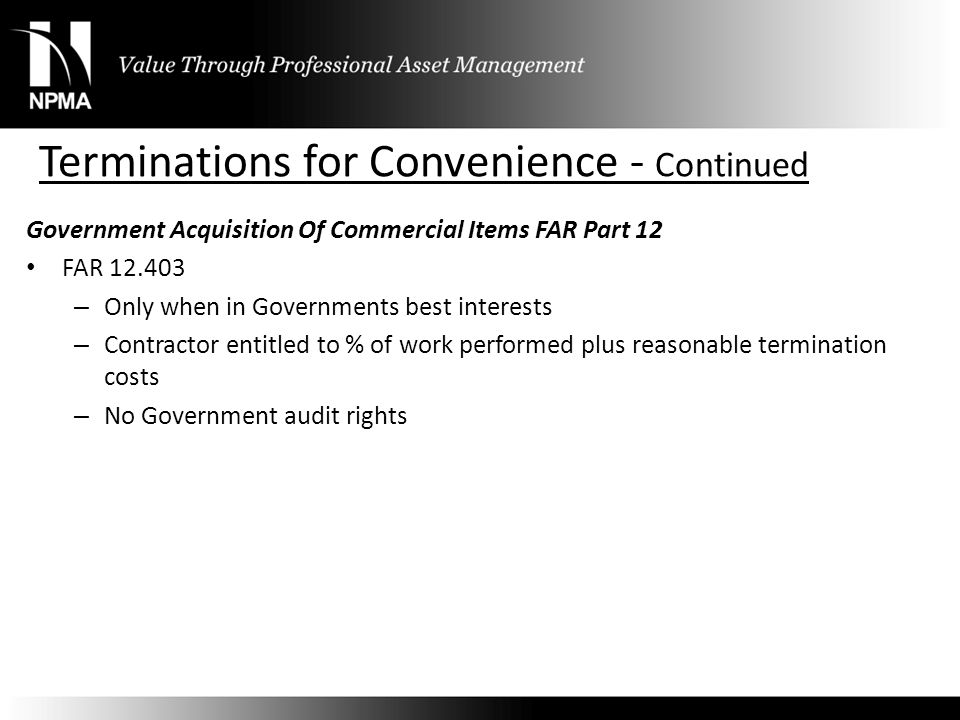 Terminations for Convenience - Continued