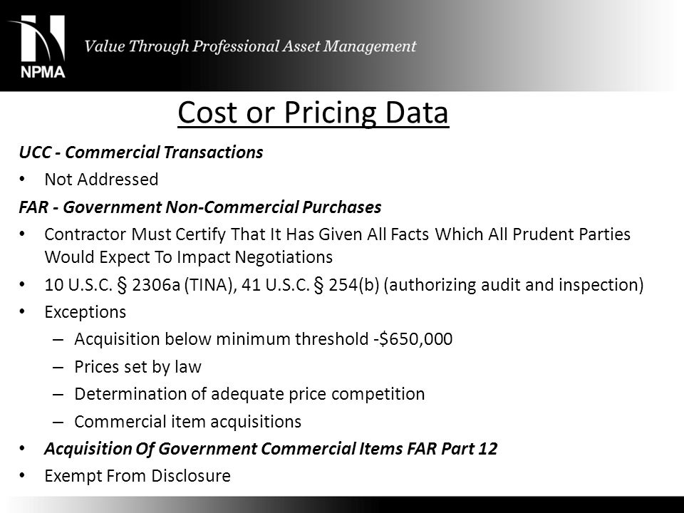 Cost or Pricing Data UCC - Commercial Transactions Not Addressed