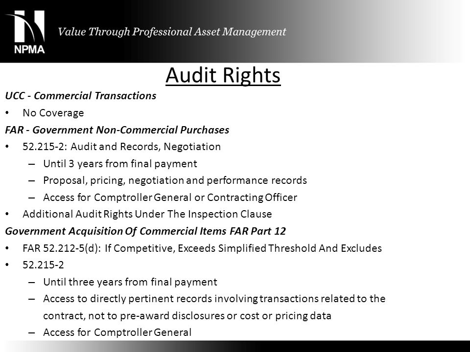 Audit Rights UCC - Commercial Transactions No Coverage