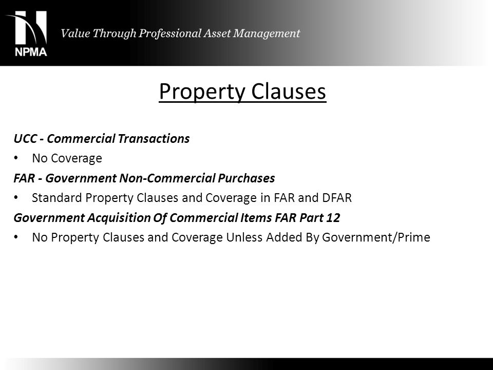 Property Clauses UCC - Commercial Transactions No Coverage