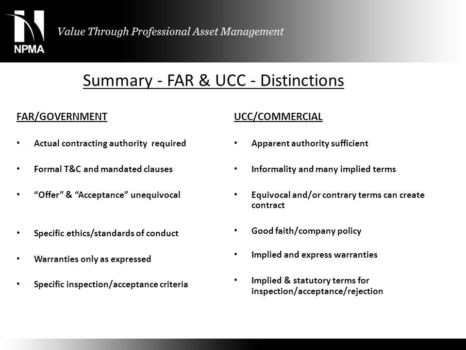 Summary - FAR & UCC - Distinctions