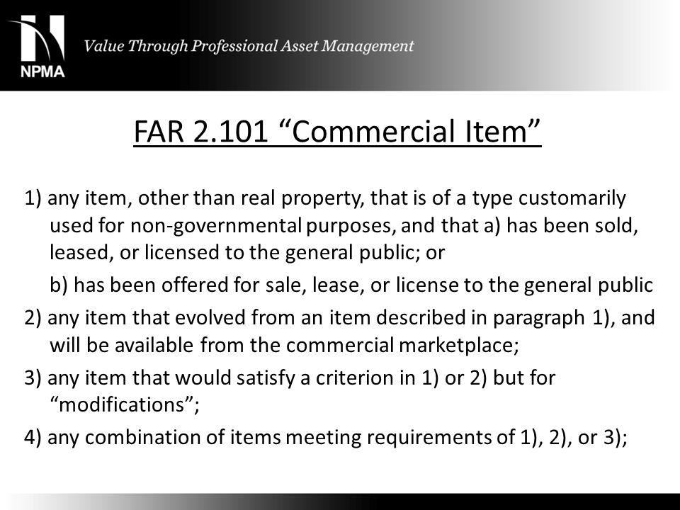 FAR 2.101 Commercial Item