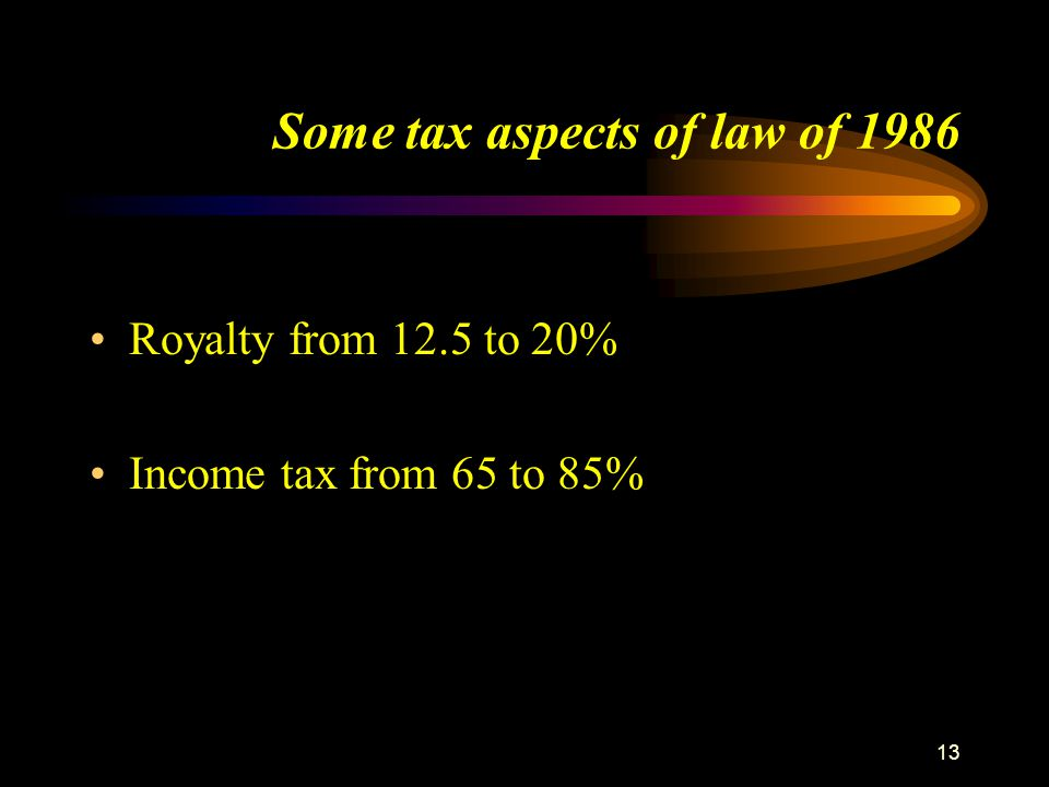 Some tax aspects of law of 1986