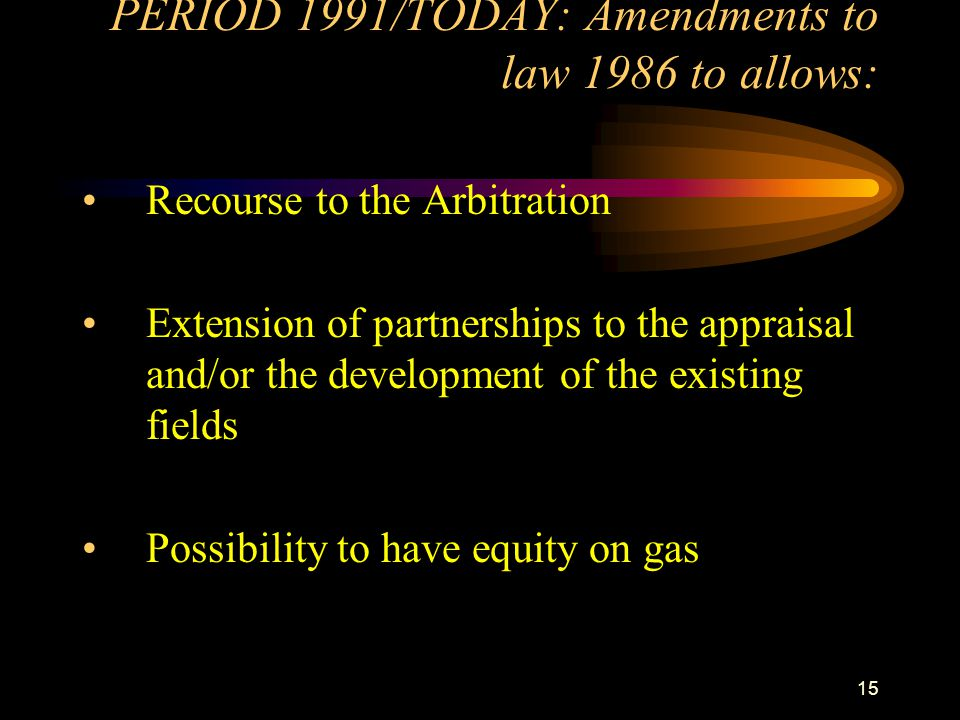 PERIOD 1991/TODAY: Amendments to law 1986 to allows: