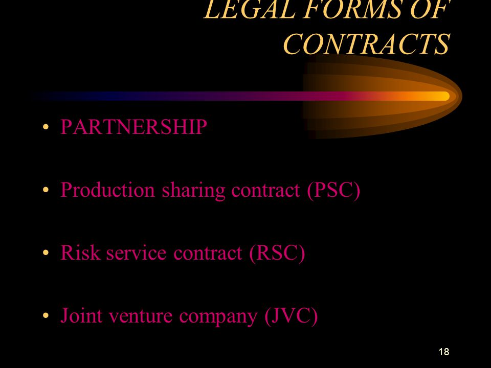 LEGAL FORMS OF CONTRACTS