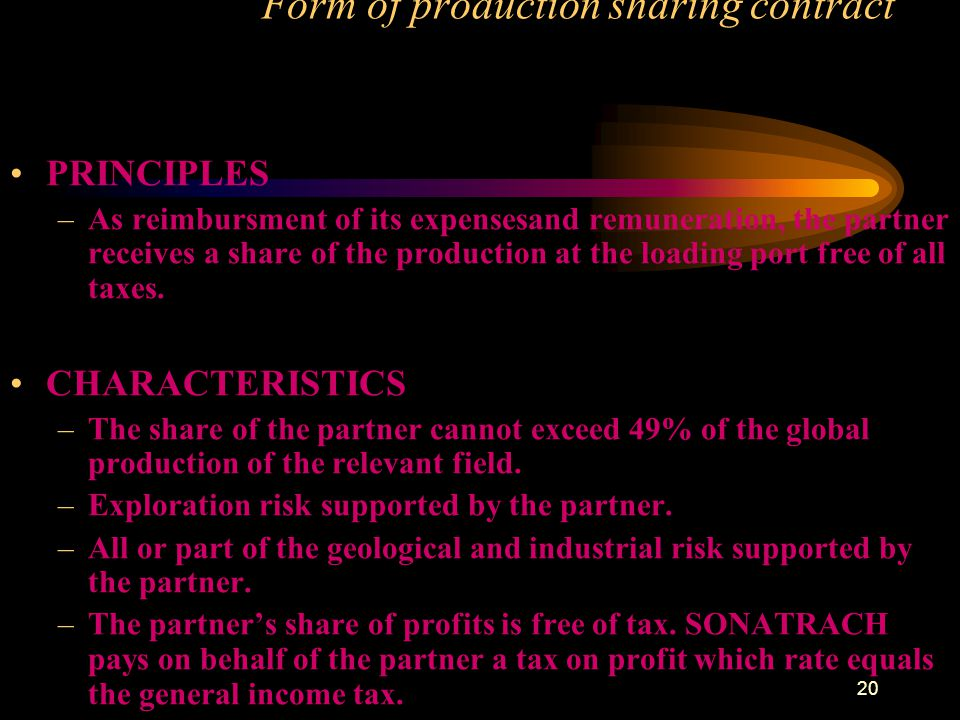 Form of production sharing contract