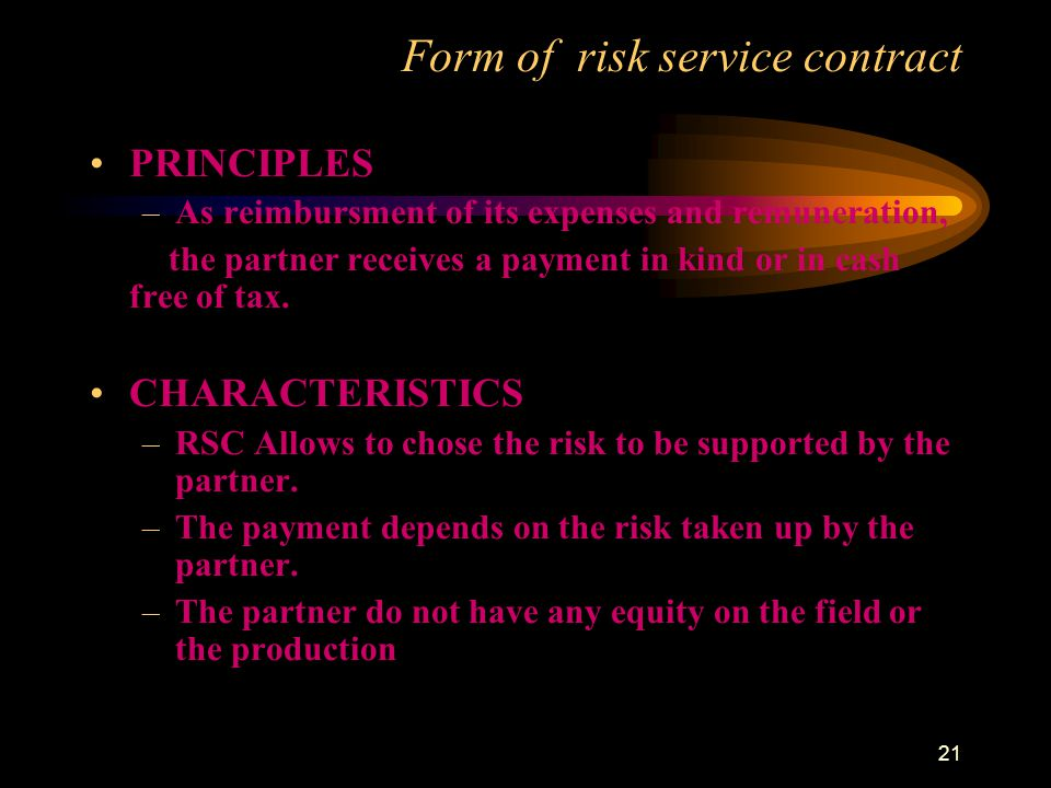 Form of risk service contract
