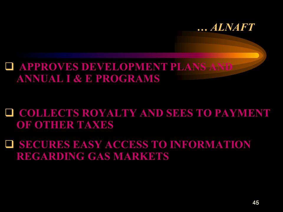 … ALNAFT APPROVES DEVELOPMENT PLANS AND ANNUAL I & E PROGRAMS. COLLECTS ROYALTY AND SEES TO PAYMENT OF OTHER TAXES.