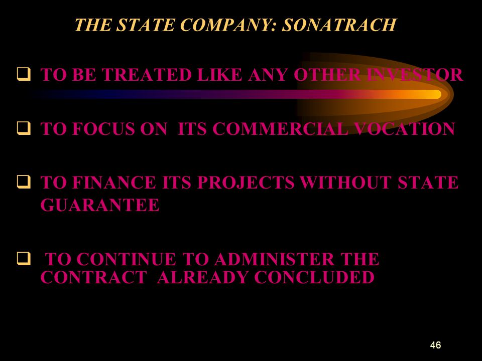 THE STATE COMPANY: SONATRACH