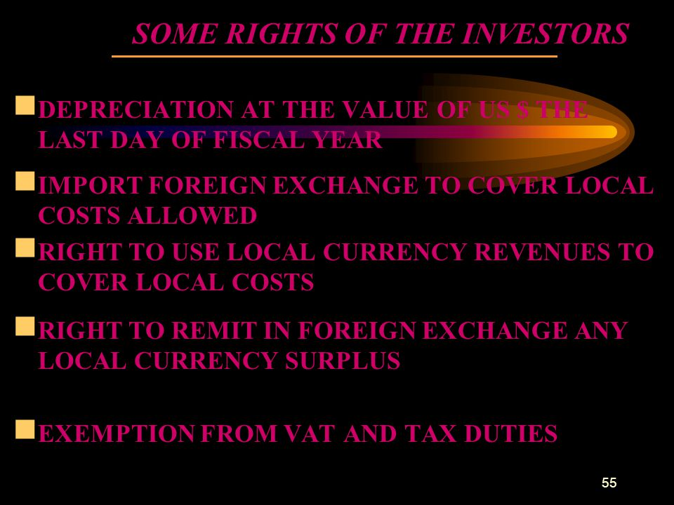 SOME RIGHTS OF THE INVESTORS