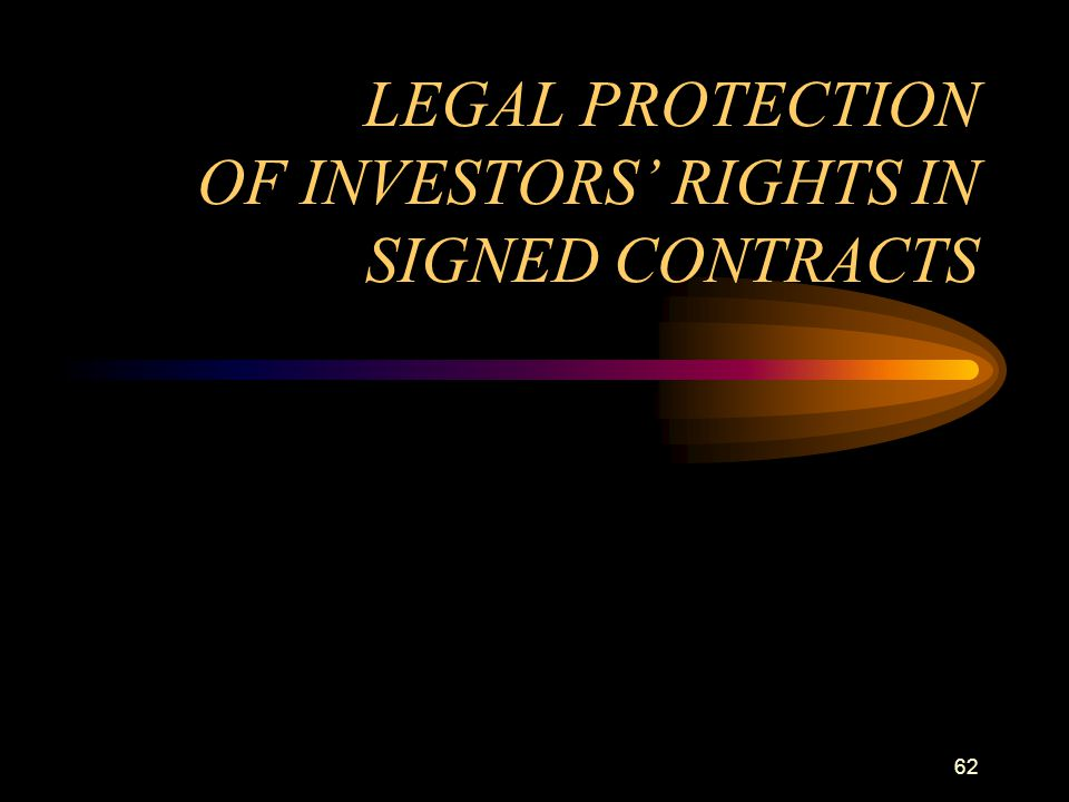 LEGAL PROTECTION OF INVESTORS' RIGHTS IN SIGNED CONTRACTS