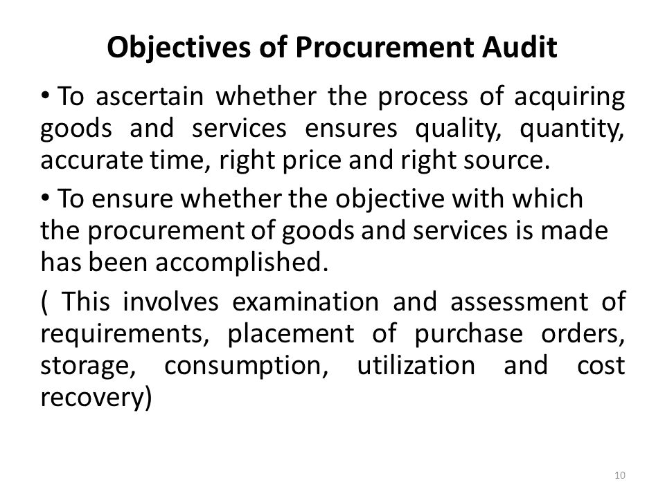 Objectives of Procurement Audit