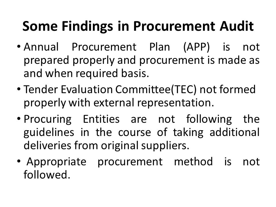 Some Findings in Procurement Audit