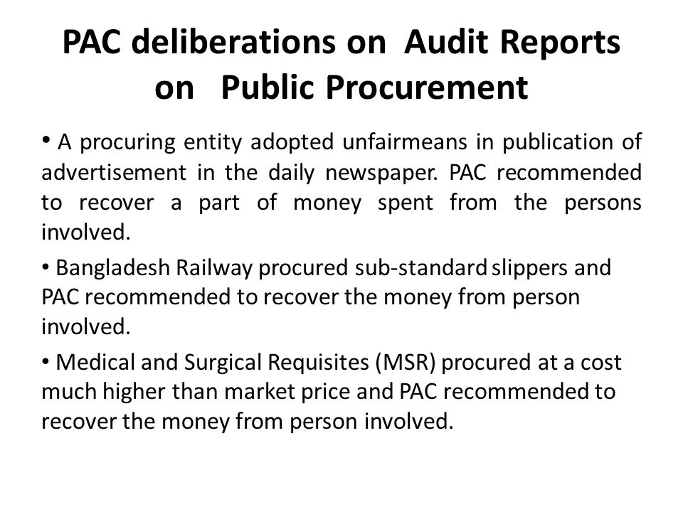 PAC deliberations on Audit Reports on Public Procurement