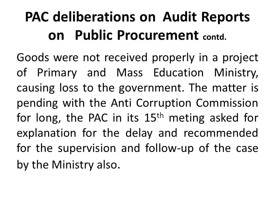PAC deliberations on Audit Reports on Public Procurement contd.
