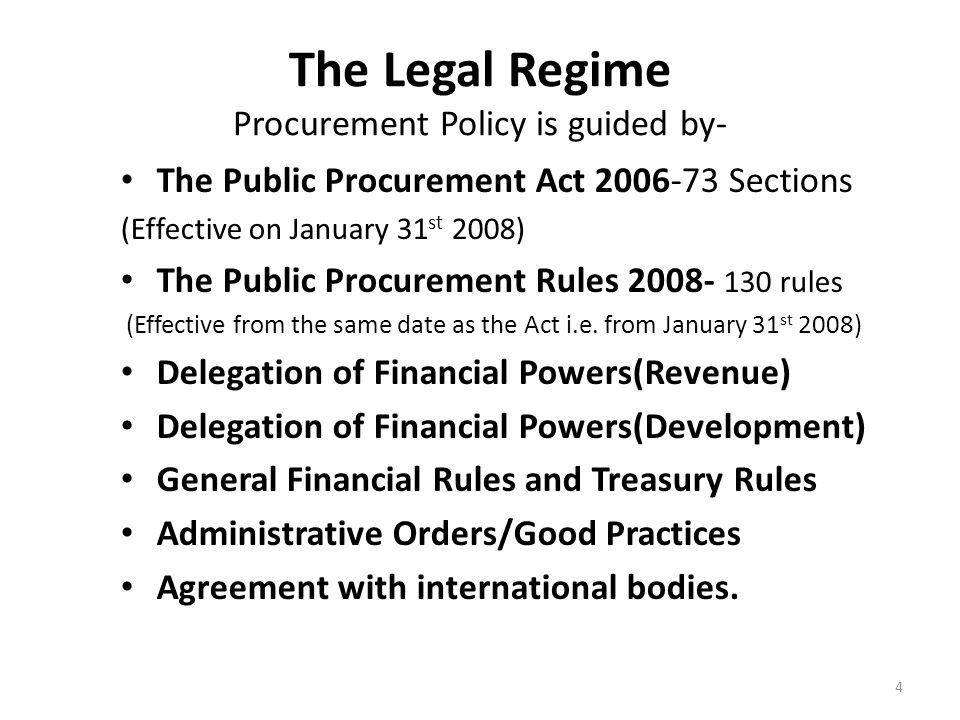 The Legal Regime Procurement Policy is guided by-