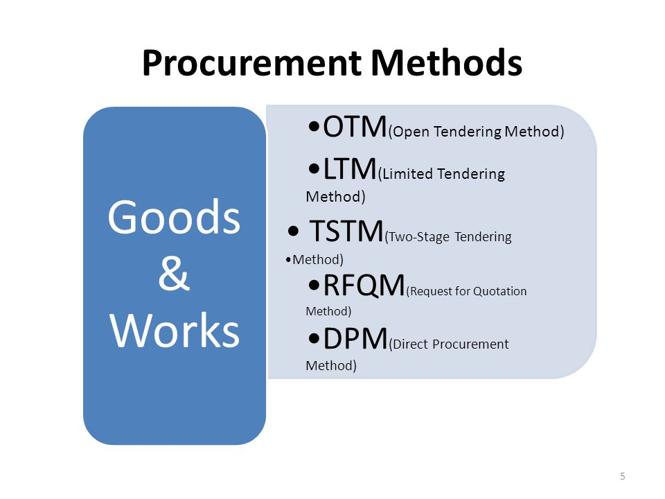 Goods & Works Procurement Methods OTM(Open Tendering Method)