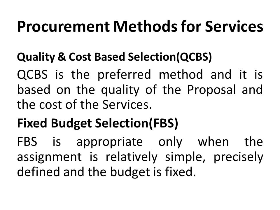 Procurement Methods for Services