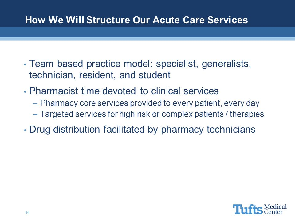 How We Will Structure Our Acute Care Services