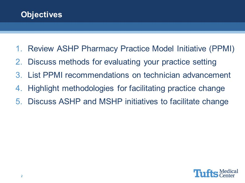 Objectives Review ASHP Pharmacy Practice Model Initiative (PPMI) Discuss methods for evaluating your practice setting.