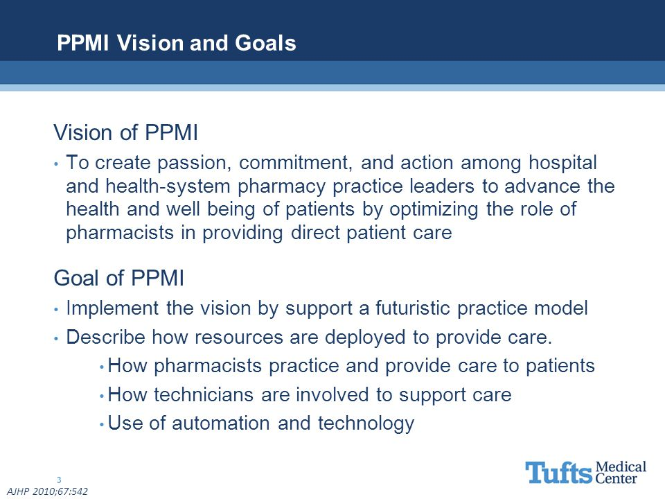 PPMI Vision and Goals Vision of PPMI Goal of PPMI