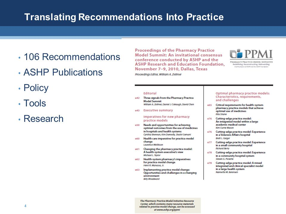 Translating Recommendations Into Practice