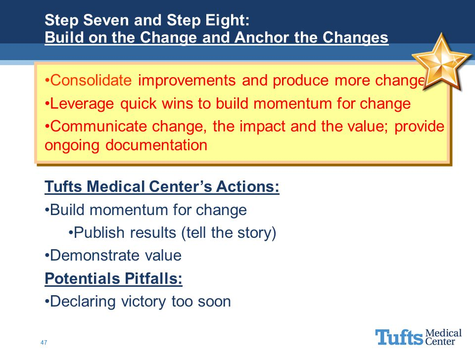 Step Seven and Step Eight: Build on the Change and Anchor the Changes