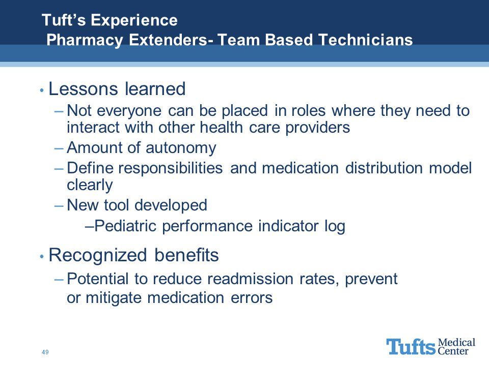 Tuft's Experience Pharmacy Extenders- Team Based Technicians