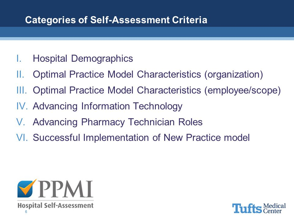 Categories of Self-Assessment Criteria