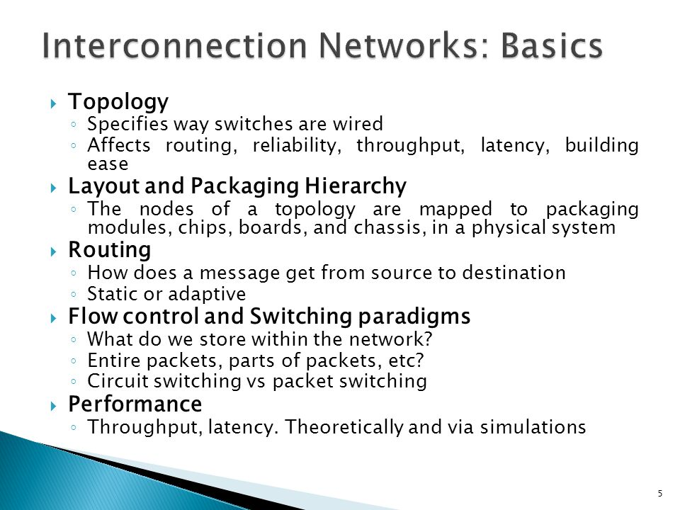 Interconnection Networks: Basics