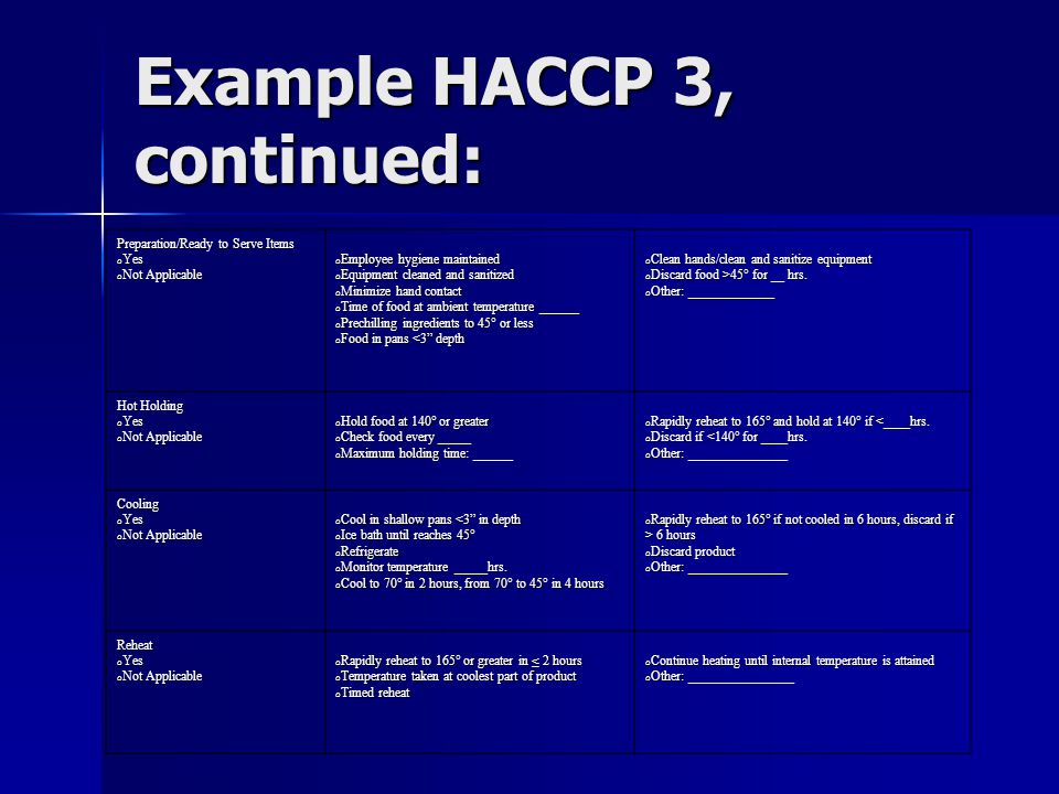 Example HACCP 3, continued: