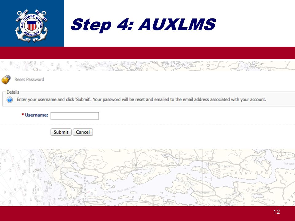 Step 4: AUXLMS Type in your e-mail address – the same one as in AUXDATA. Click on Submit .