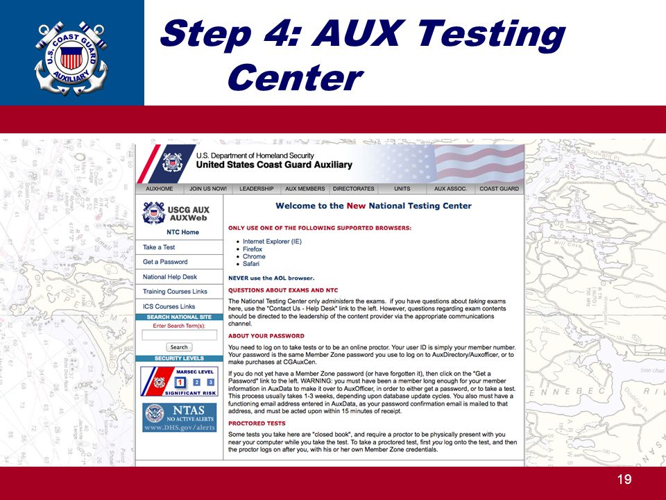 Step 4: AUX Testing Center