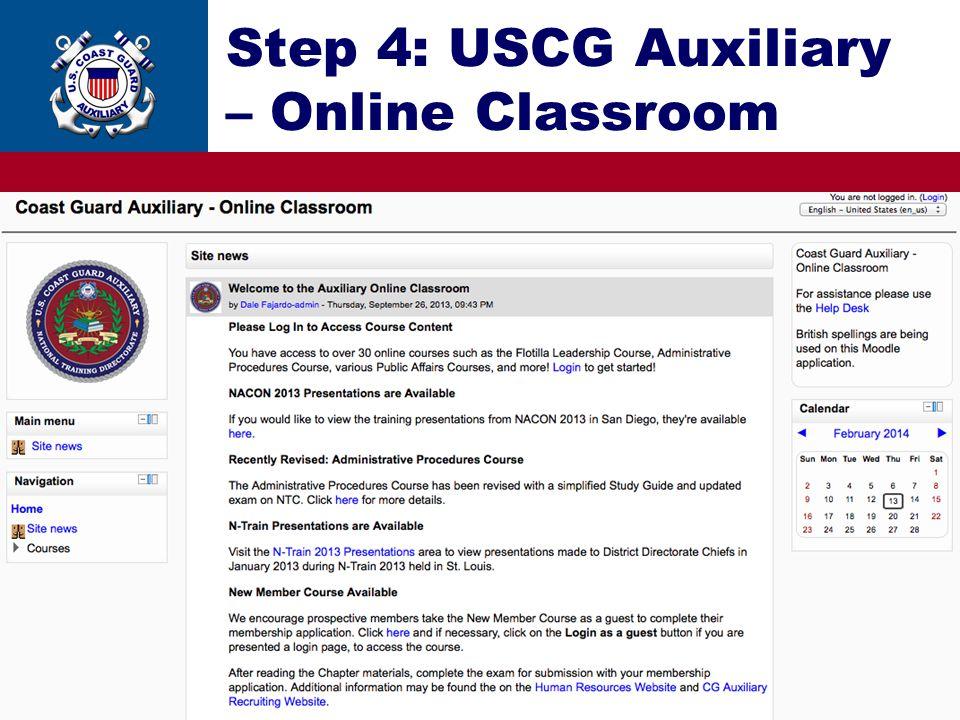 Step 4: USCG Auxiliary – Online Classroom