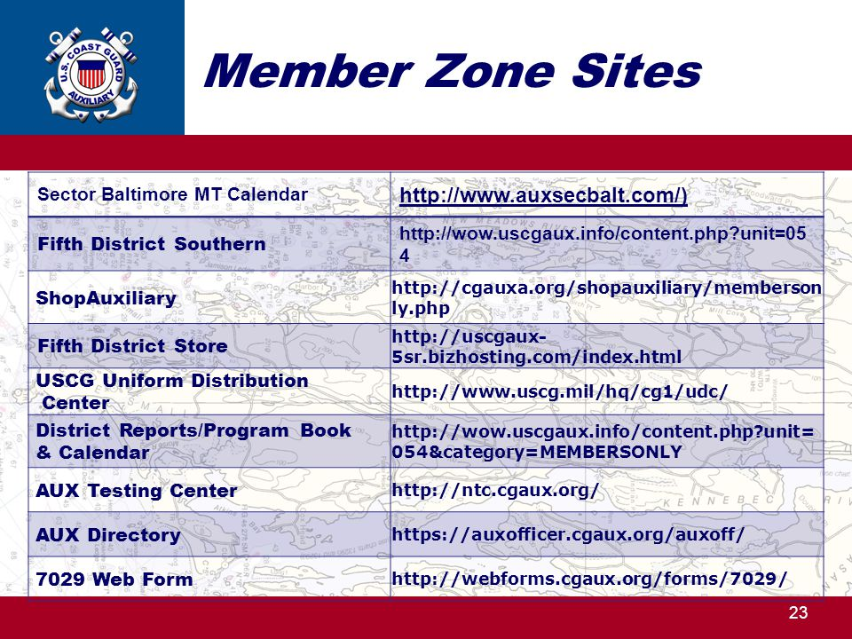 Member Zone Sites http://www.auxsecbalt.com/)
