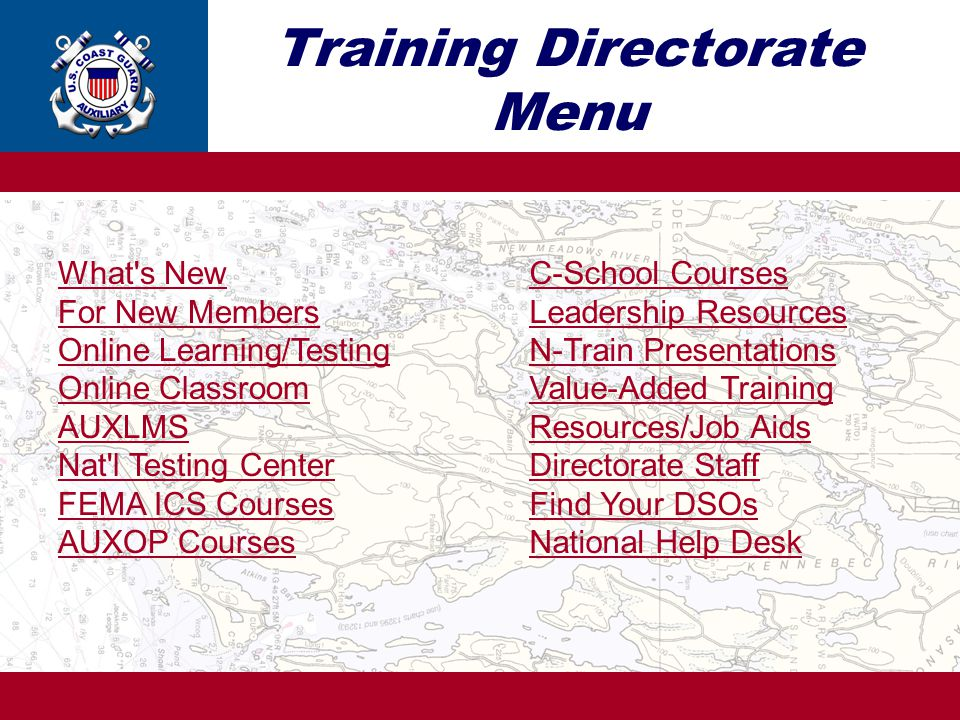 Training Directorate Menu