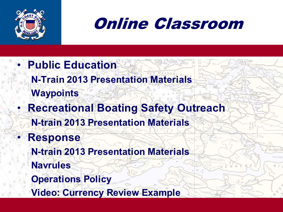 Online Classroom Public Education Recreational Boating Safety Outreach
