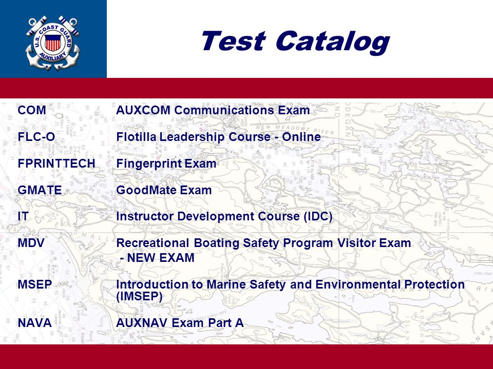 Test Catalog COM AUXCOM Communications Exam