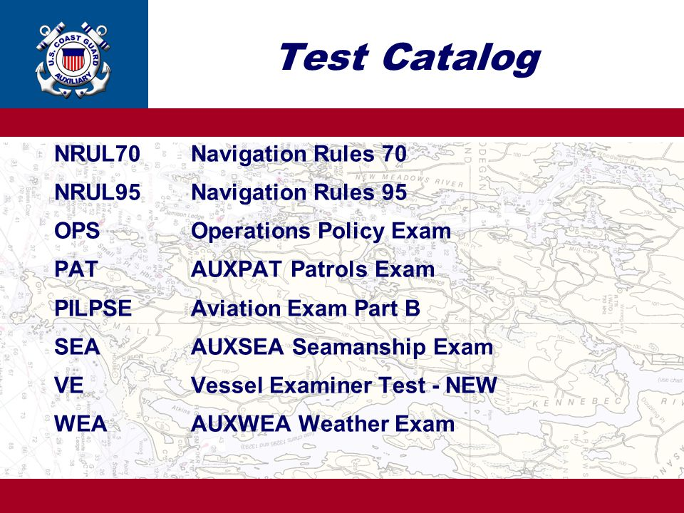 Test Catalog NRUL70 Navigation Rules 70 NRUL95 Navigation Rules 95