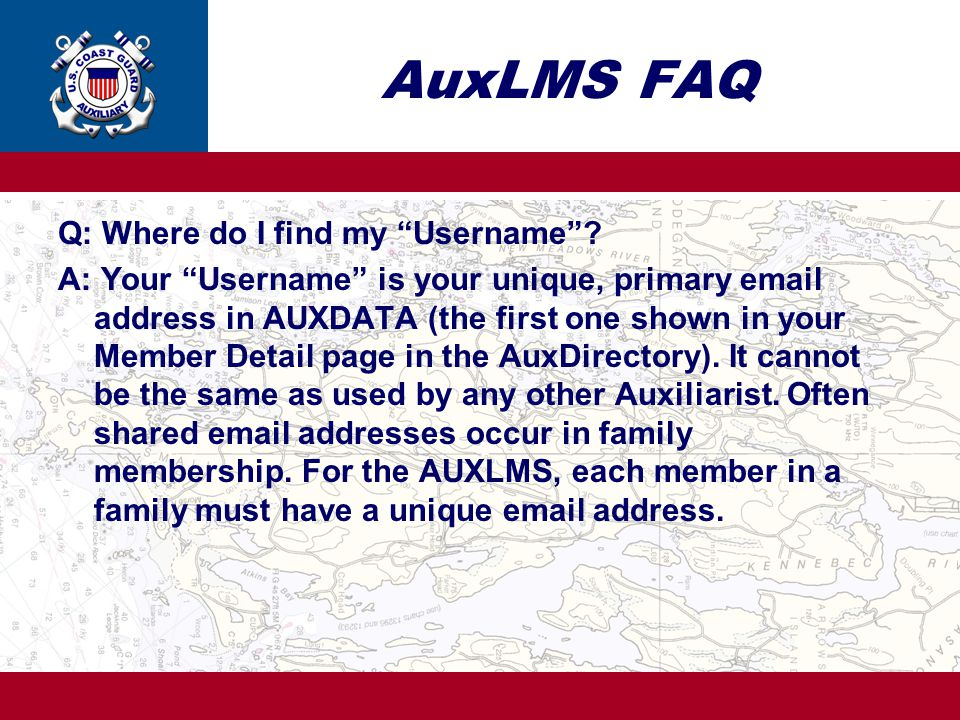AuxLMS FAQ Q: Where do I find my Username
