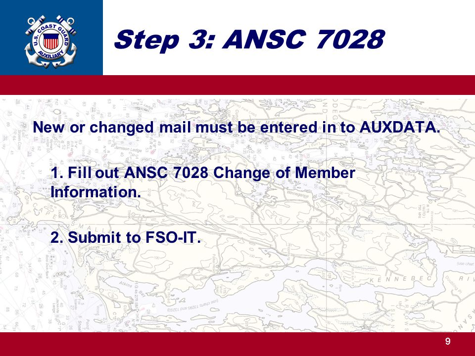 Step 3: ANSC 7028 New or changed mail must be entered in to AUXDATA.