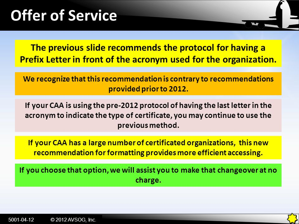 Offer of Service The previous slide recommends the protocol for having a Prefix Letter in front of the acronym used for the organization.