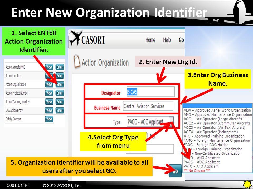 Enter New Organization Identifier