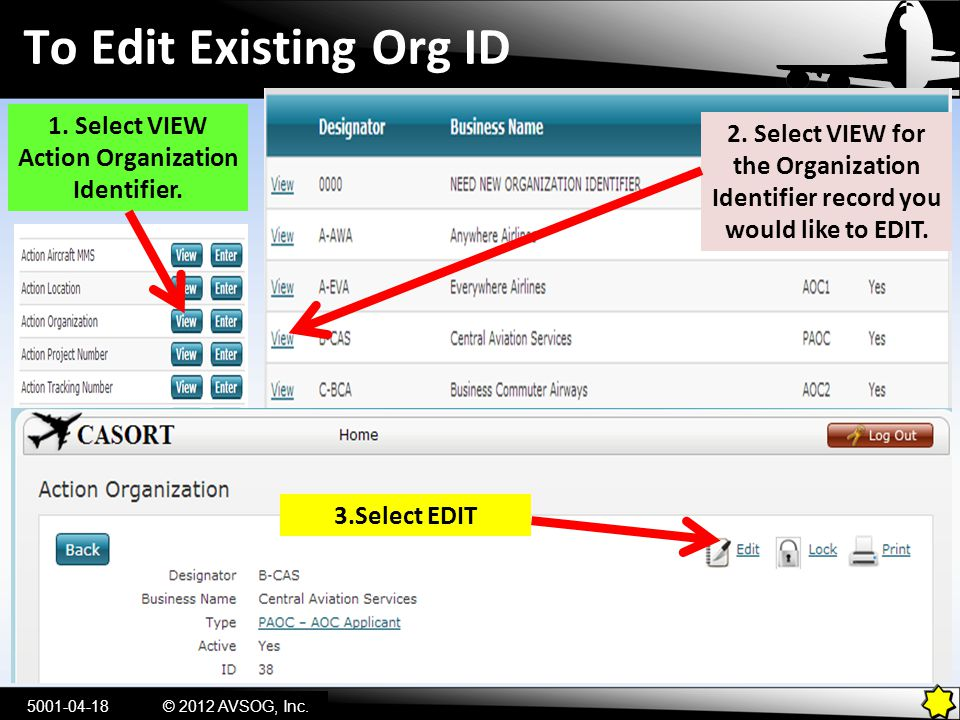 1. Select VIEW Action Organization Identifier.