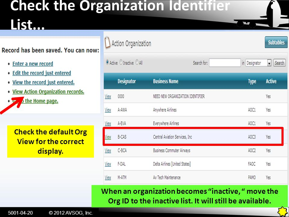 Check the Organization Identifier List...