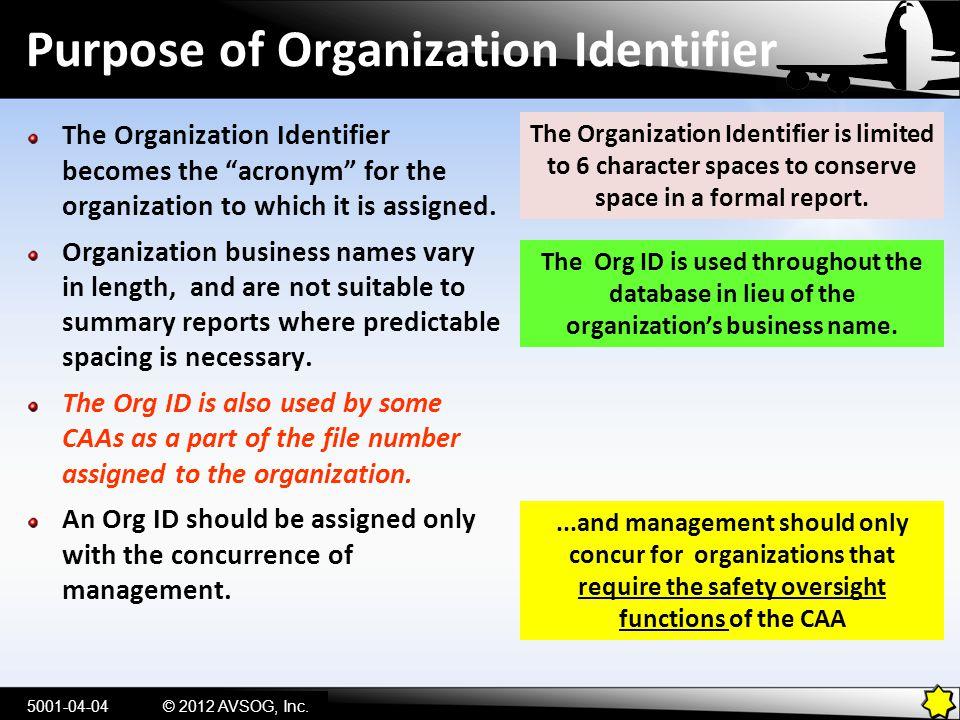 Purpose of Organization Identifier