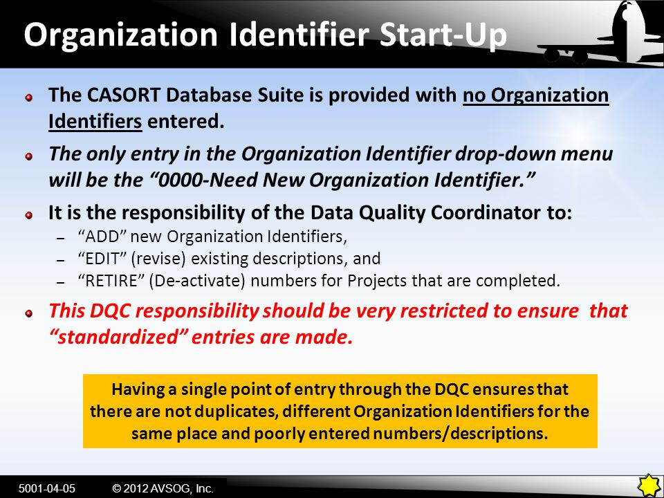 Organization Identifier Start-Up