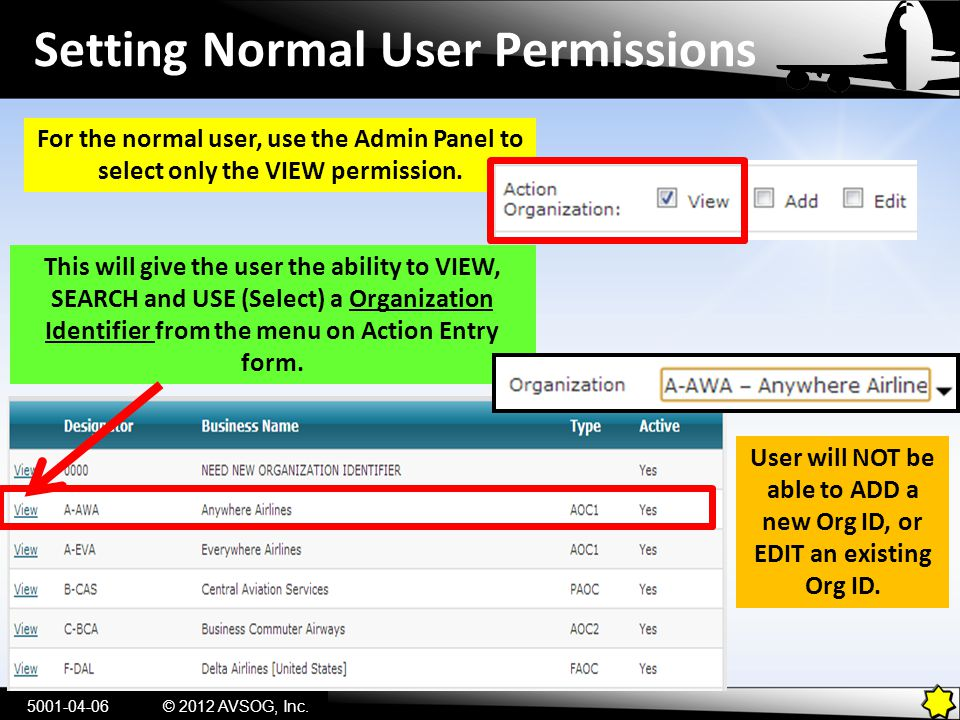 Setting Normal User Permissions