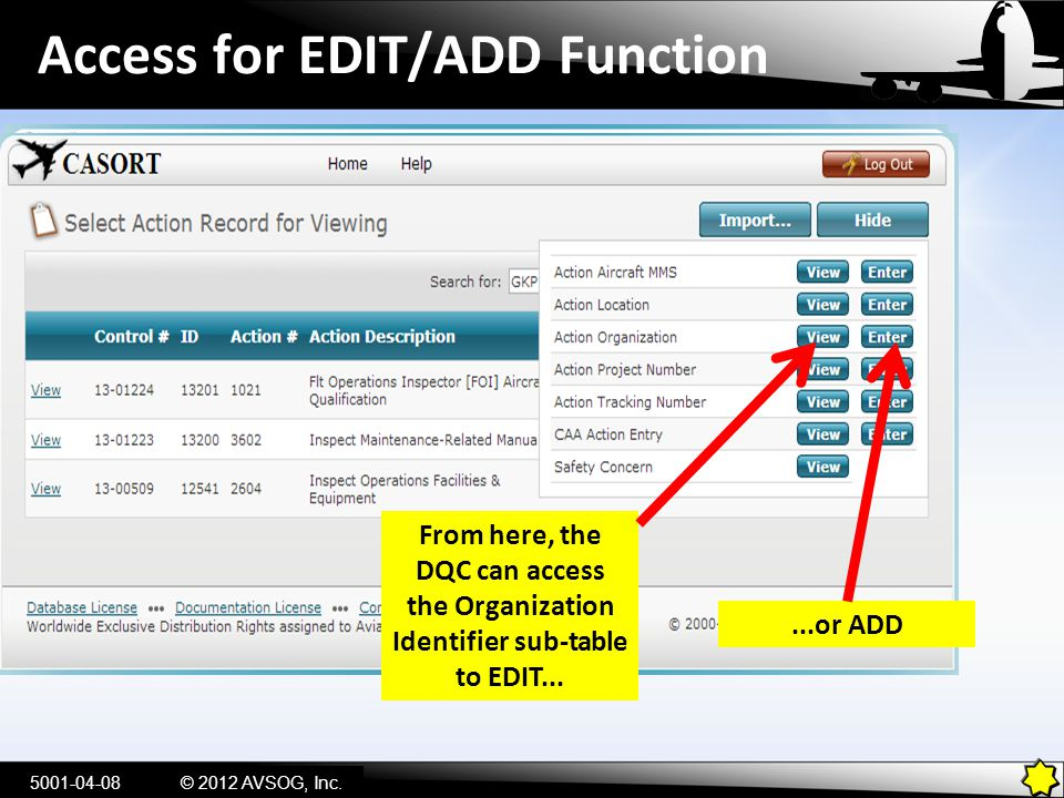Access for EDIT/ADD Function